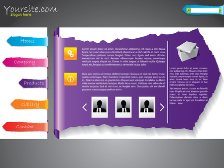 Ripped label web template design Vector