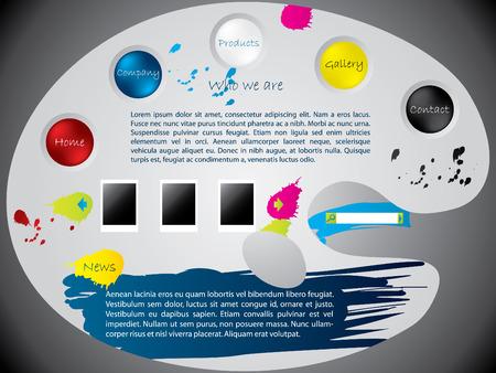 Paint palette website template design Stock Vector - 8475351