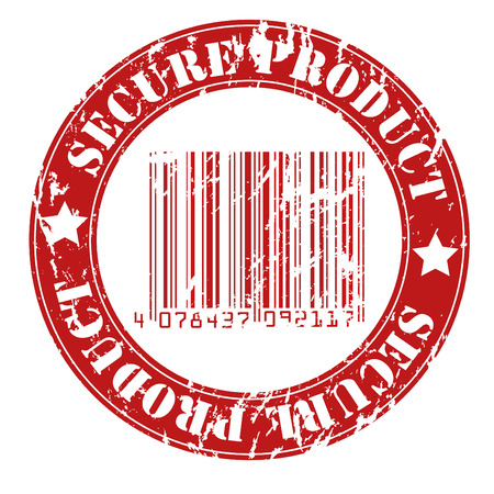 certificated: Secure product grungy stamp design Illustration