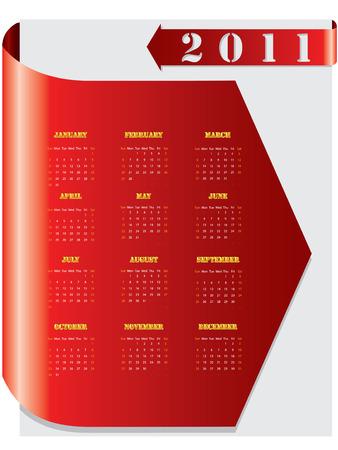 Red arrow calendar for 2011 Stock Vector - 8549188