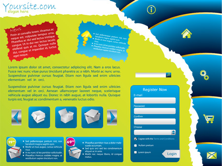 Ripped web template with notes Vector