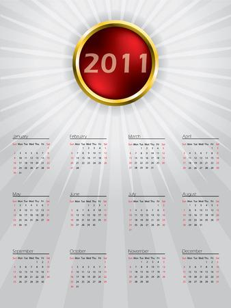 Sphere calendar design for 2011 Stock Vector - 8549195