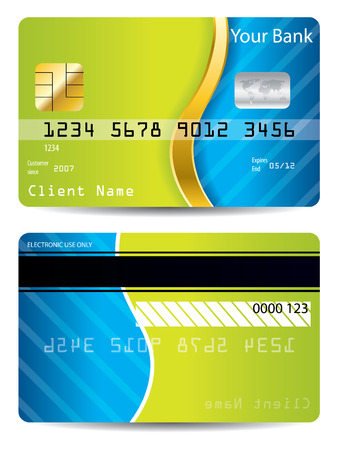 debit card: Cool blue and green design credit card
