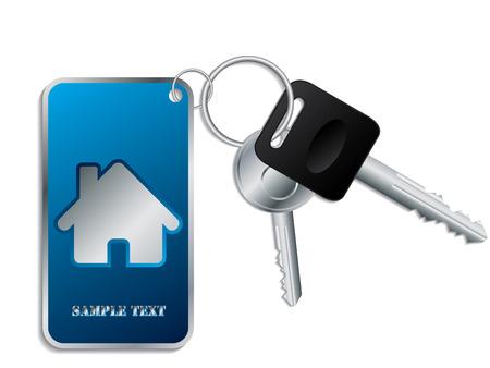 Keys with blue keyholder Stock Vector - 8609980