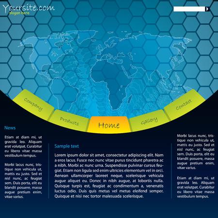 Map website design with hexagons Stock Vector - 8640678