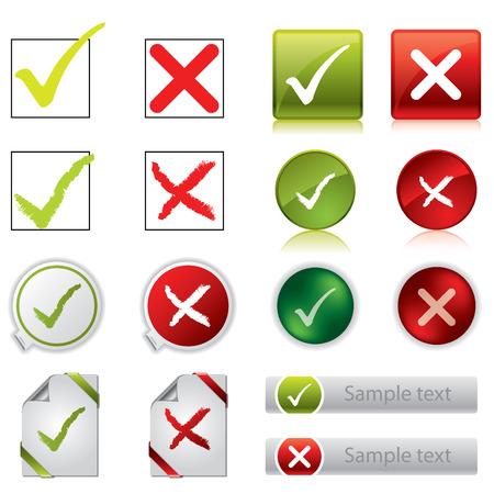 tick: Marque y cruzar adhesivos, botones y s�mbolos Vectores
