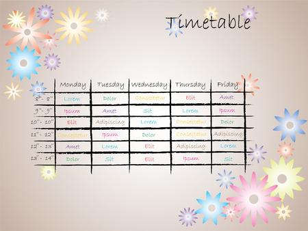 Kids timetable for school Vector