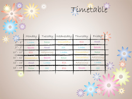 week: Kids timetable for school