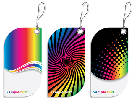 Rainbow colored label design set Vector