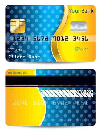 Cool blue and orange credit card Stock Vector - 8723778