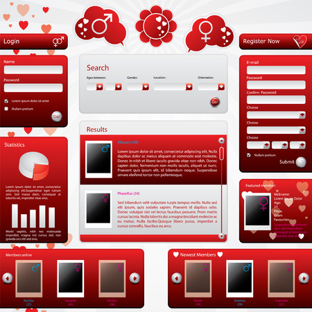 Dating website template for valentine's day Stock Vector - 8723779