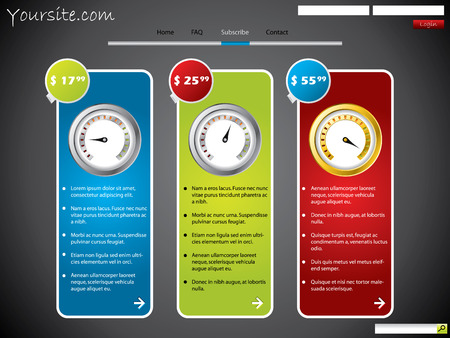 rev counter: Subscription web template design with price
