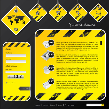 Industrial web template with label signs Vector