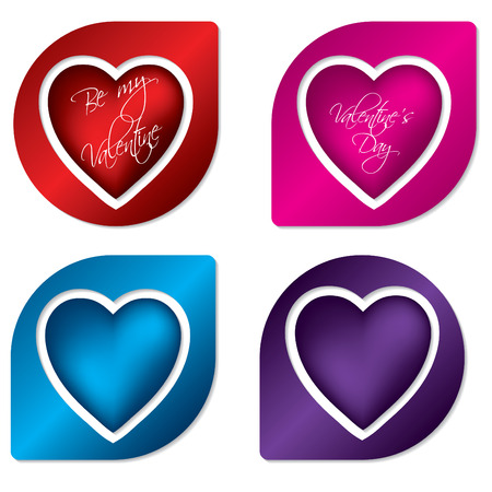 Heart label design set Stock Vector - 8723787