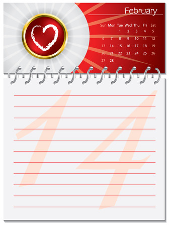Valentines day calendar design Vector