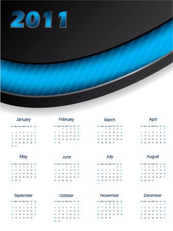 calendar design: 2011 blue calendar design Illustration