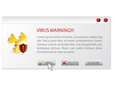 Virus warning window Stock Vector - 8772717