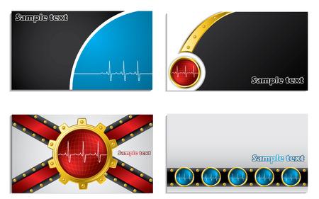 name card design: Business card set with ekg symbol