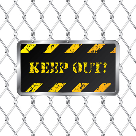 Warning plate with wired fence Stock Vector - 8895802