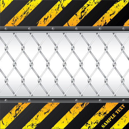 hazard stripes: Construction background design with wired fence Illustration
