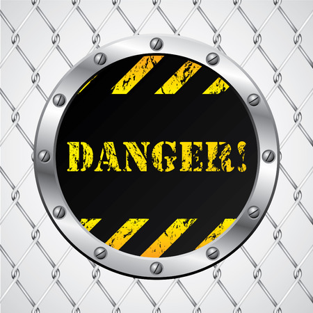 Wired fence with danger sign Vector
