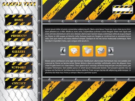 steel construction: Filo recinto sito web template design Vettoriali