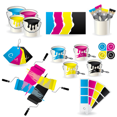 paint cans: CMYK coloring set