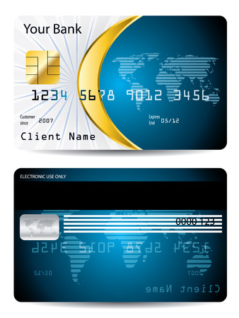 Credit card design with golden shape Vector