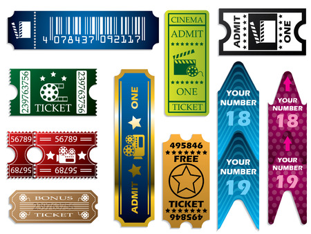 admit: Vector ticket set