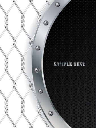 Black dots and metallic wire design Vector