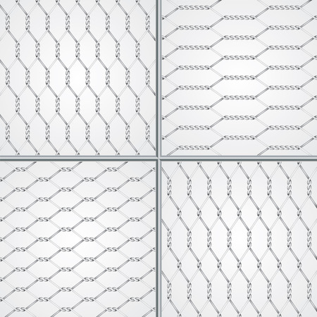 Various wire fence design set Vector