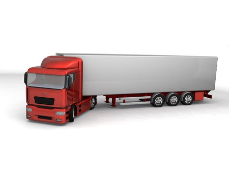 semitrailer: Perspective view of 3d truck Stock Photo