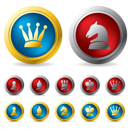 the rook: Golden and silver chess buttons Illustration