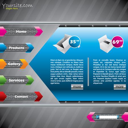 Arrow website template design with product descriptions Vector