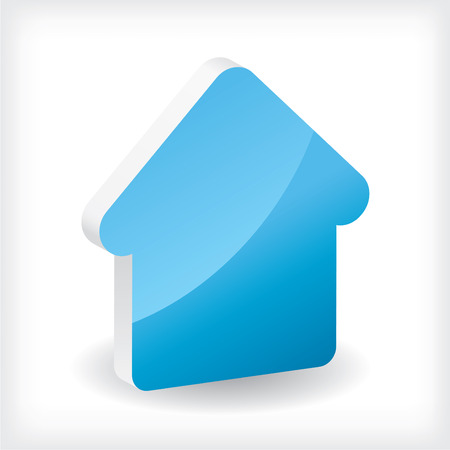 dream house: Blue 3d house icon Illustration