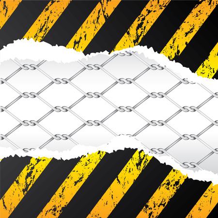geketend: Bekabelde hek achter geripte grunge papier