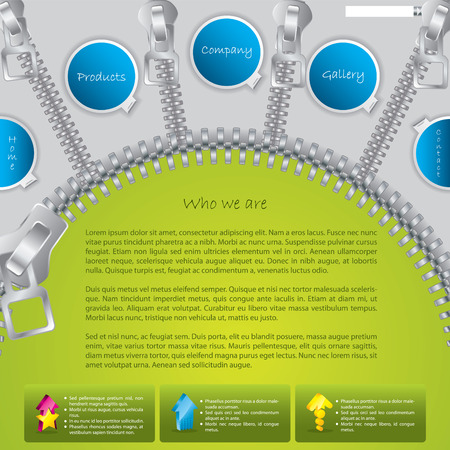 Green website template with zipper design Vector