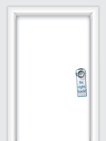 door hanger: Label with message on door knob