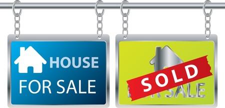 home moving: Anuncio de venta de la casa colgado en cadenas
