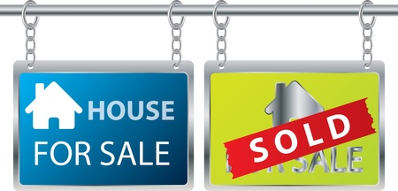 buying real estate: House sale advertisement hanging on chains Illustration