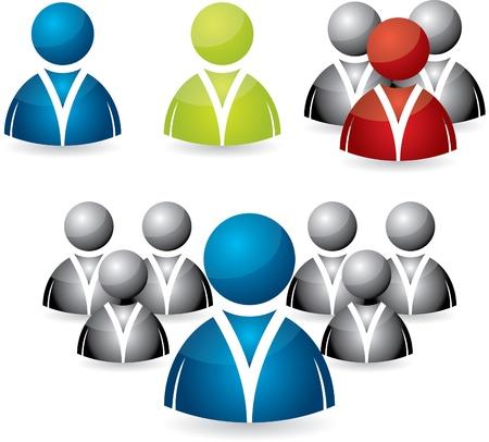 grupo de hombres: Icono de personas de negocios conjunto en varios colores