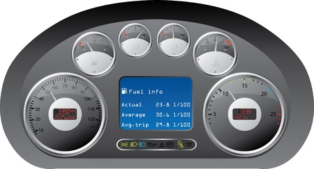 dash: Truck dashboard design with gauges Illustration