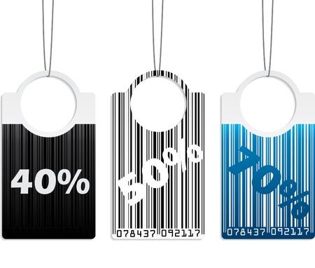 coded: Bar coded label design set of three Illustration