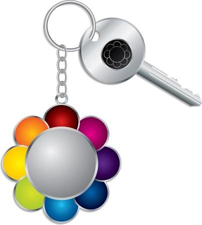 keyholder: Flower shaped keyholder with key