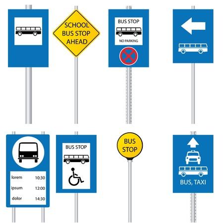 parada de autobus: S�mbolos y se�ales de bus stop Vectores
