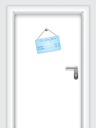 Door with doctors hanging timetable Vector