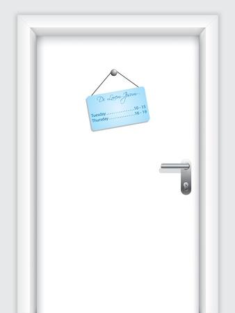 doorstep: Door with doctors hanging timetable