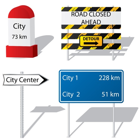 road block: Different types of road signs Illustration