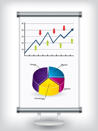 Roll up display stand with charts Stock Vector - 9261616