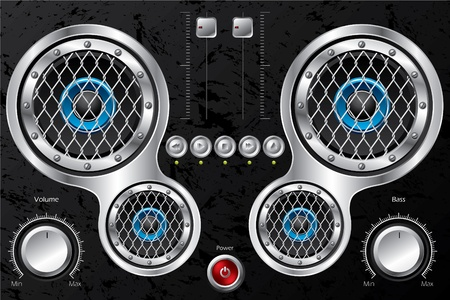Hi fi design with instruments and speakers Vector